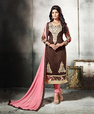 BROWN AND LIGHT PINK EMBROIDERED COTTON DRESS MATEIRIAL @ Rs1112.00