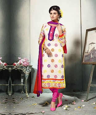 OFF WHITE EMBROIDERED COTTON DRESS MATEIRIAL @ Rs1112.00
