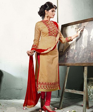 BEIGE AND MAROON EMBROIDERED COTTON DRESS MATEIRIAL @ Rs1112.00