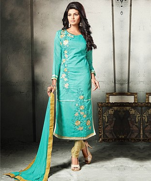 AQUA AND CREAM EMBROIDERED COTTON DRESS MATEIRIAL @ Rs1112.00
