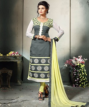GREY AND LEMON EMBROIDERED COTTON DRESS MATEIRIAL @ Rs1112.00