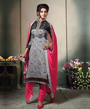 GREY AND PINK EMBROIDERED COTTON DRESS MATEIRIAL @ Rs1112.00