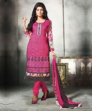 DARK PINK EMBROIDERED COTTON DRESS MATEIRIAL @ Rs1112.00