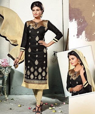 BLACK AND CREAM EMBROIDERED COTTON DRESS MATEIRIAL @ Rs1112.00
