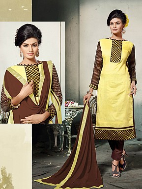YELLOW AND BROWN EMBROIDERED COTTON DRESS MATEIRIAL @ Rs1112.00