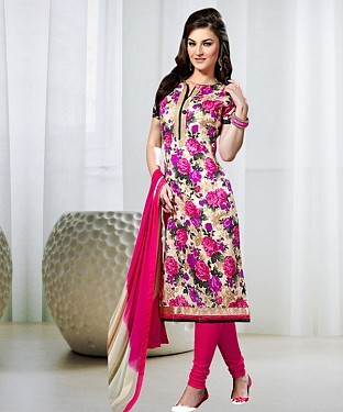MULTY AND PINK PRINTED BHAGALPURI PRINT DRESS MATEIRIAL @ Rs1050.00