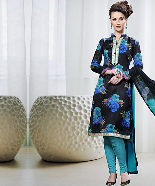 BLACK AND AQUA PRINTED BHAGALPURI PRINT DRESS MATEIRIAL @ Rs1050.00