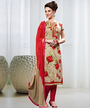 CREAM AND RED PRINTED BHAGALPURI PRINT DRESS MATEIRIAL @ Rs1050.00