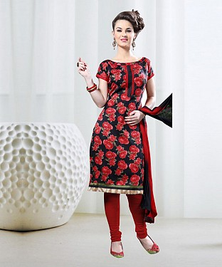 MAROON AND BLACK PRINTED BHAGALPURI PRINT DRESS MATEIRIAL @ Rs1050.00