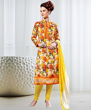 MULTY AND YELLOW PRINTED BHAGALPURI PRINT DRESS MATEIRIAL @ Rs1050.00