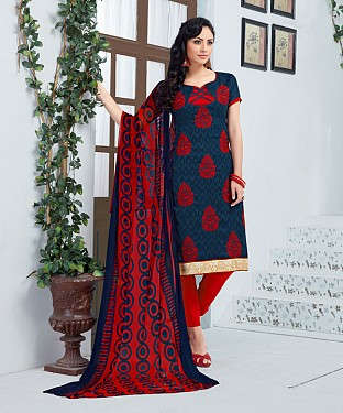 RED AND NAVY BLUE EMBROIDERED COTTON JEQUARD DRESS MATEIRIAL @ Rs1050.00