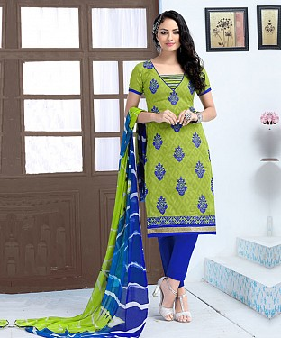 PARROT AND BLUE EMBROIDERED COTTON JEQUARD DRESS MATEIRIAL @ Rs1050.00