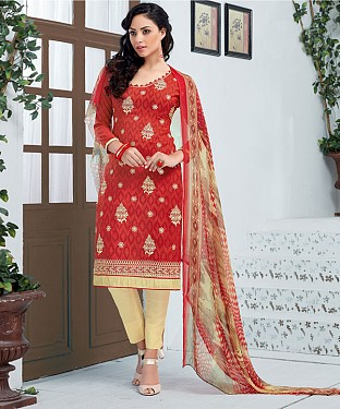 RED AND CREAM EMBROIDERED COTTON JEQUARD DRESS MATEIRIAL @ Rs1050.00