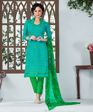AQUA AND GREEN EMBROIDERED COTTON JEQUARD DRESS MATEIRIAL @ Rs1050.00