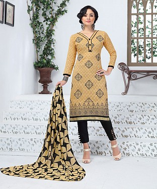 BEIGE AND BLACK EMBROIDERED COTTON JEQUARD DRESS MATEIRIAL @ Rs1050.00
