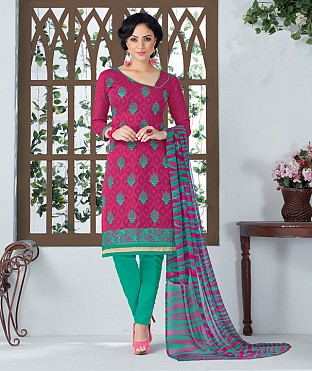 PINK AND AQUA EMBROIDERED COTTON JEQUARD DRESS MATEIRIAL @ Rs1050.00