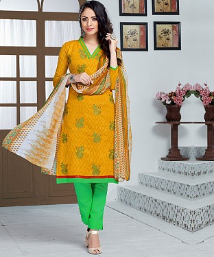 YELLOW AND GREEN EMBROIDERED COTTON JEQUARD DRESS MATEIRIAL @ Rs1050.00