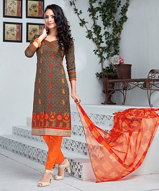 BROWN AND ORANGE EMBROIDERED COTTON JEQUARD DRESS MATEIRIAL @ Rs1050.00