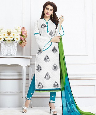 WHITE AND SKY EMBROIDERED COTTON DRESS MATEIRIAL @ Rs1050.00