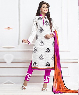 WHITE AND PINK EMBROIDERED COTTON DRESS MATEIRIAL @ Rs1050.00
