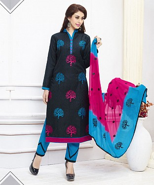 BLACK AND SKY EMBROIDERED COTTON DRESS MATEIRIAL @ Rs1050.00