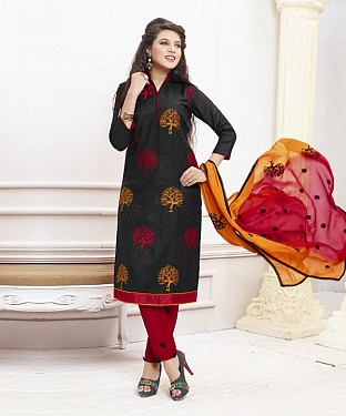 BLACK AND RED EMBROIDERED COTTON DRESS MATEIRIAL @ Rs1050.00