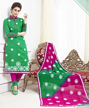 GREEN AND PINK EMBROIDERED COTTON DRESS MATEIRIAL @ Rs1050.00