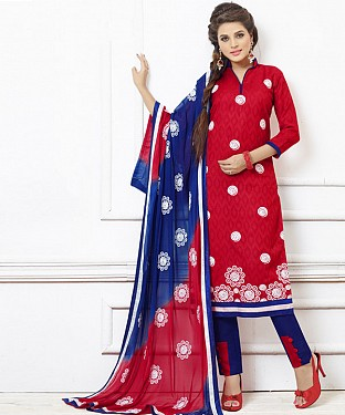 RED AND BLUE EMBROIDERED COTTON DRESS MATEIRIAL @ Rs1050.00