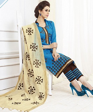 SKY AND BROWN EMBROIDERED COTTON DRESS MATEIRIAL @ Rs1050.00