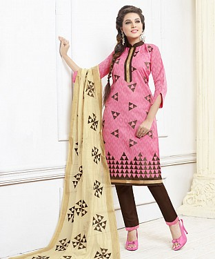 PINK AND BROWN EMBROIDERED COTTON DRESS MATEIRIAL @ Rs1050.00
