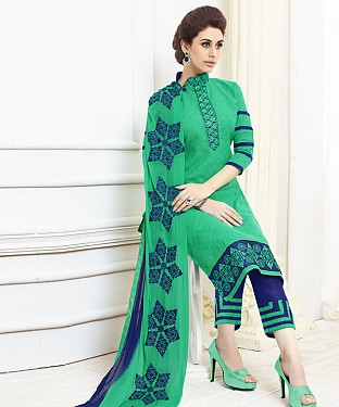 GREEN AND BLUE EMBROIDERED COTTON DRESS MATEIRIAL @ Rs1050.00