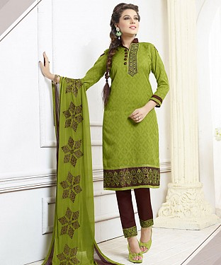 LIME GREEN AND BROWN EMBROIDERED COTTON DRESS MATEIRIAL @ Rs1050.00