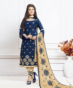 NAVY AND CREAM EMBROIDERED COTTON DRESS MATEIRIAL @ Rs1050.00