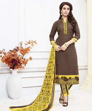 BROWN AND YELLOW EMBROIDERED COTTON DRESS MATEIRIAL @ Rs1050.00