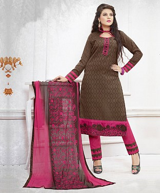 BROWN AND PINK EMBROIDERED COTTON DRESS MATEIRIAL @ Rs1050.00