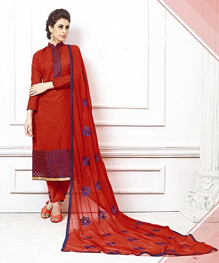 RED EMBROIDERED COTTON DRESS MATEIRIAL@ Rs.1050.00