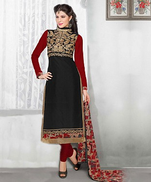 Black Embroidery Chanderi Cotton Dress Material @ Rs1050.00