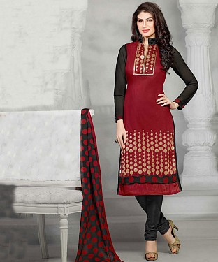 Maroon Embroidery Chanderi Cotton Dress Material @ Rs1050.00