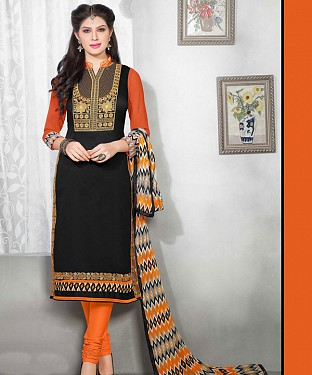 Black & Orange Embroidery Chanderi Cotton Dress Material@ Rs.1050.00