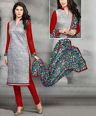 Grey & Red Embroidery Chanderi Cotton Dress Material @ Rs1050.00