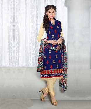 NavyBlue & Beige Embroidery Chanderi Cotton Dress Material@ Rs.1050.00