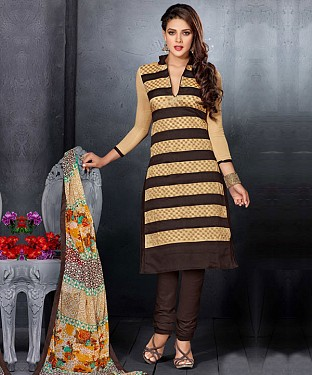 Brown & Beige Embroidery Chanderi Cotton Dress Material@ Rs.1050.00