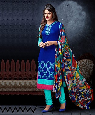 Blue & Sky Embroidery Chanderi Cotton Dress Material @ Rs1050.00