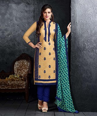 Beige & Blue Embroidery Chanderi Cotton Dress Material @ Rs1050.00