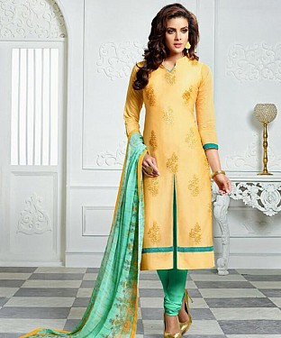 Yellow Embroidery Chanderi Cotton Dress Material @ Rs1050.00