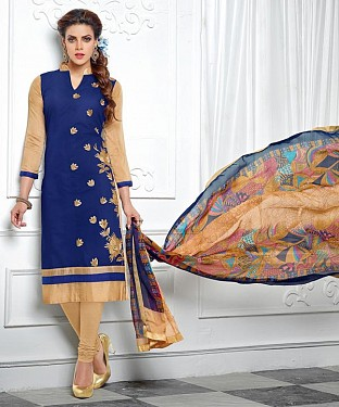 NavyBlue & Beige Embroidery Chanderi Cotton Dress Material @ Rs1050.00