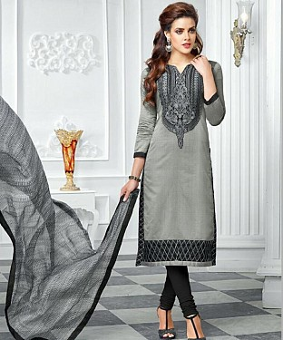 Grey Embroidery Chanderi Cotton Dress Material @ Rs1050.00