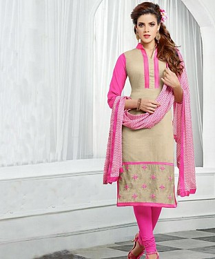 Beige & Pink Embroidery Chanderi Cotton Dress Material @ Rs1050.00