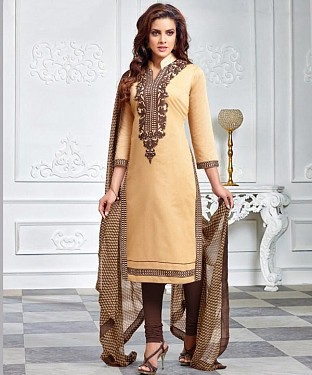 Beige & Brown Embroidery Chanderi Cotton Dress Material @ Rs1050.00