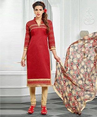 Red & Beige Embroidery Chanderi Cotton Dress Material @ Rs1050.00